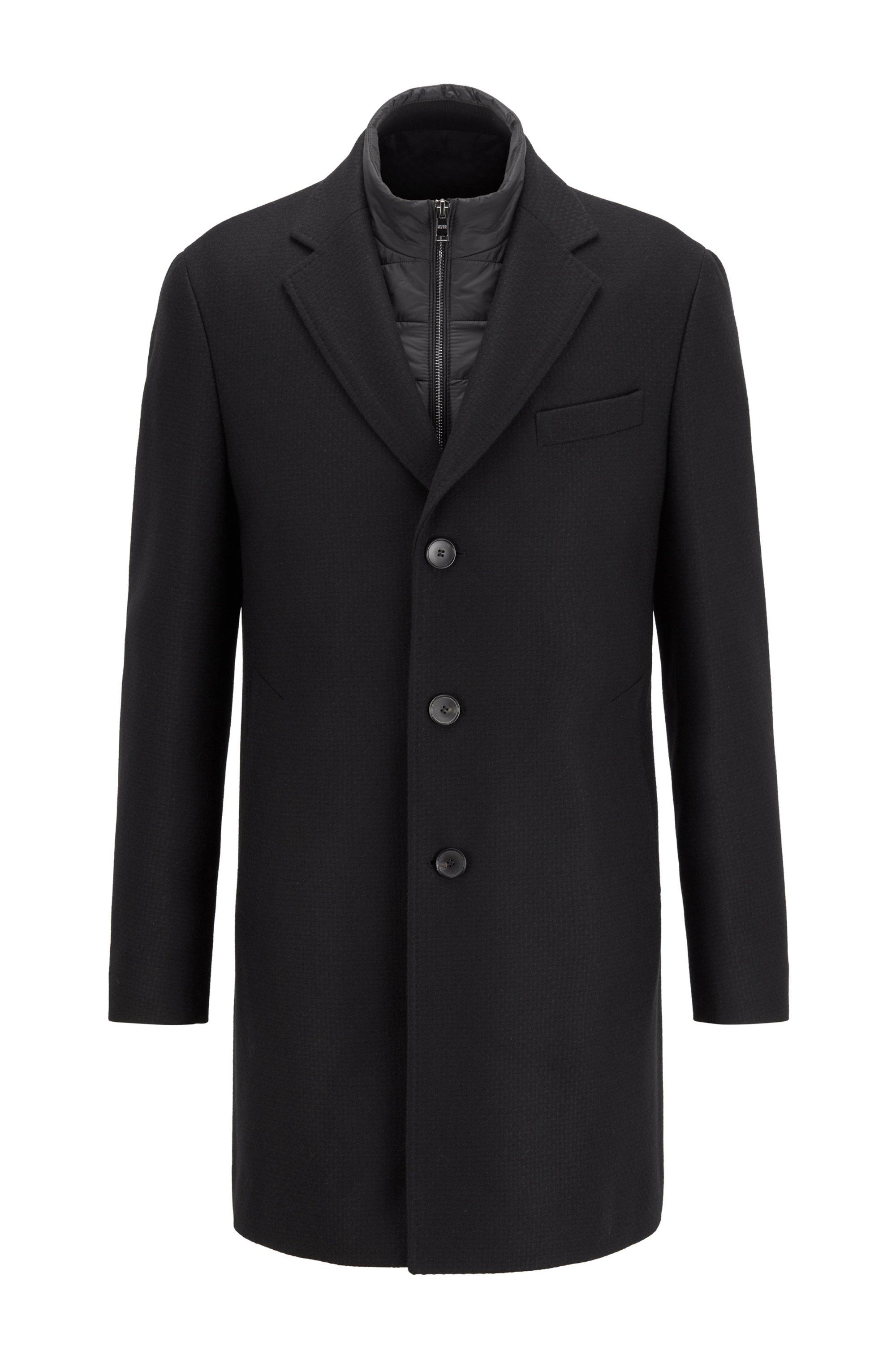 Slim-fit wool-blend coat with detachable inner bib, Light Grey