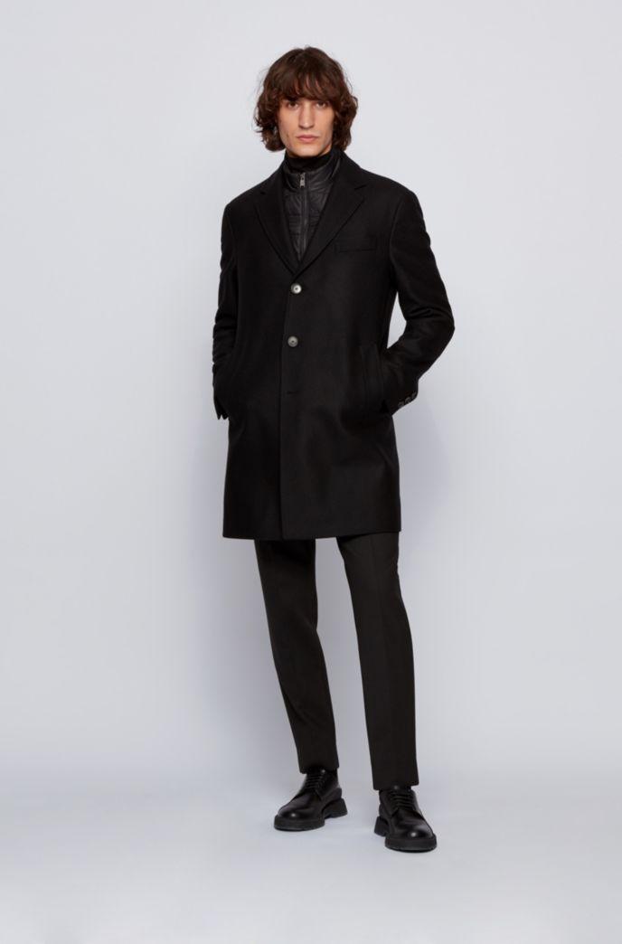 Slim-fit wool-blend coat with detachable inner bib