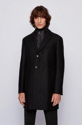 Slim-fit wool-blend coat with detachable inner bib, Black