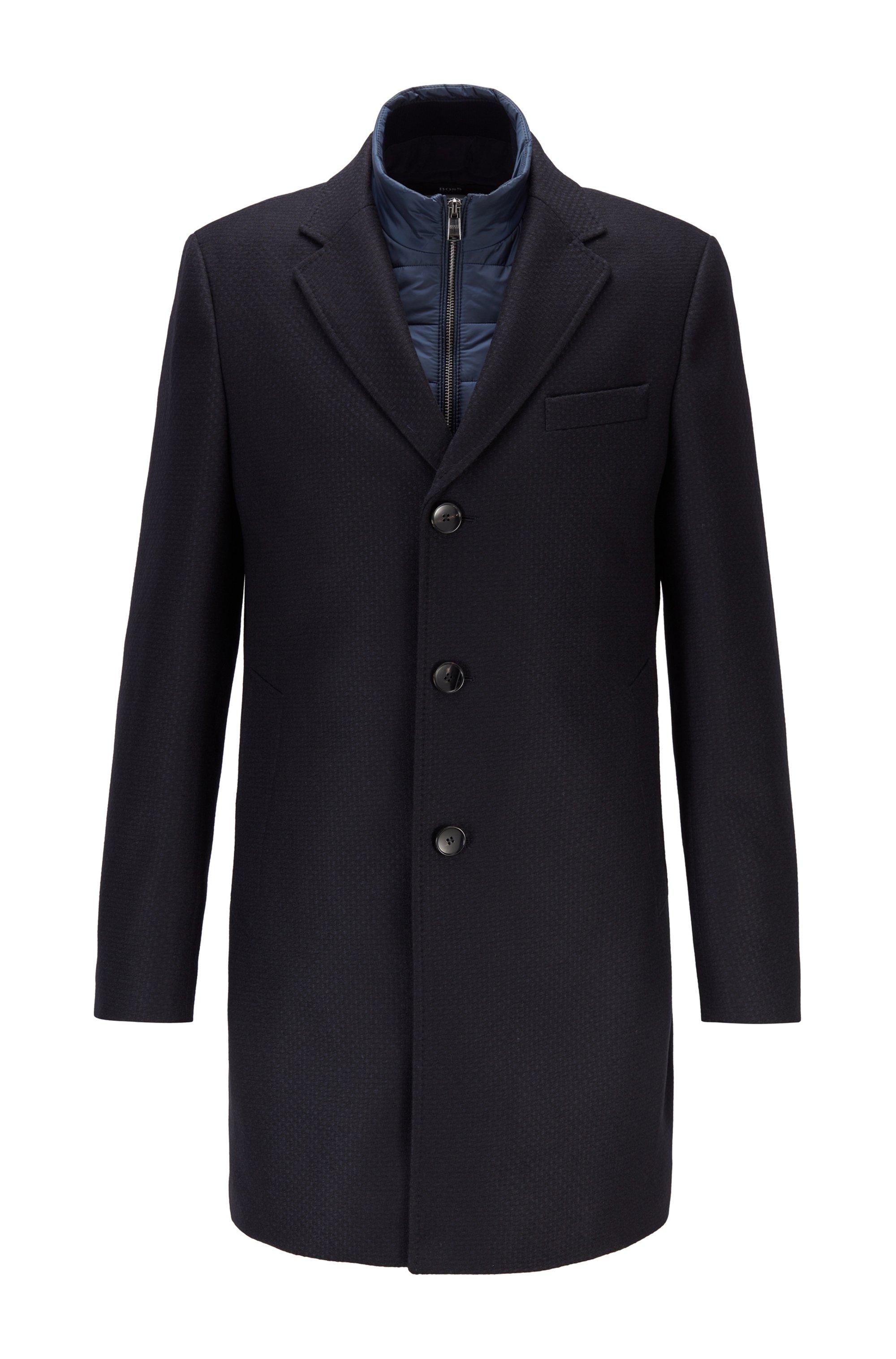 Slim-fit wool-blend coat with detachable inner bib, Dark Blue