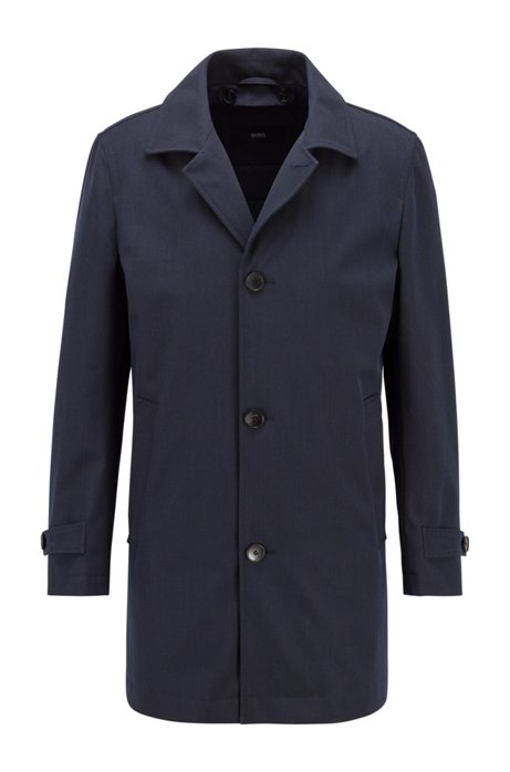 Water-repellent tab-collar coat with wool and cotton, Dark Blue