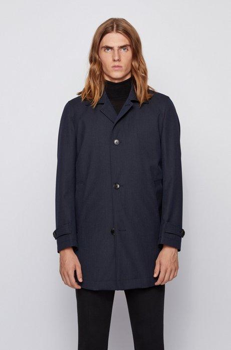 Wasserabweisender Mantel mit Tab-Kragen, Dunkelblau