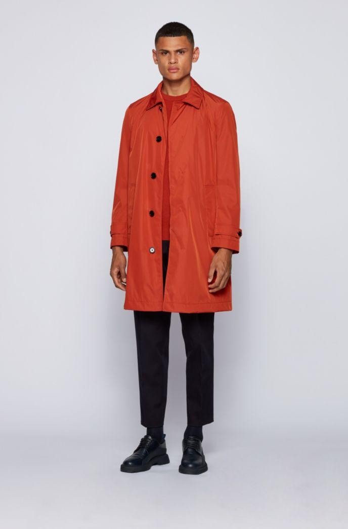 Water-repellent coat with monogram lining