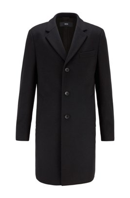Slim-fit coat in virgin wool with cashmere, Black