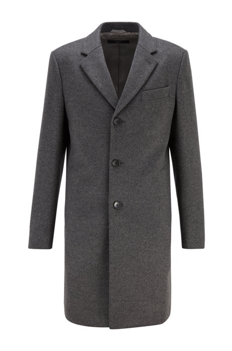 Slim-fit coat in virgin wool with cashmere, Grey