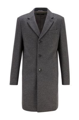 Cappotto slim fit in lana vergine con cashmere, Grigio
