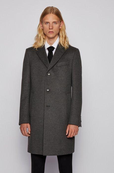 Slim-fit mantel van scheerwol met kasjmier, Grijs