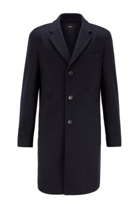 Cappotto slim fit in lana vergine con cashmere, Blu scuro