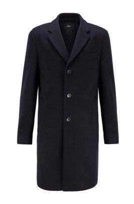 Slim-fit mantel van scheerwol met kasjmier, Donkerblauw