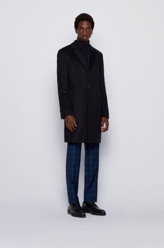 Slim-fit mantel van scheerwol met kasjmier