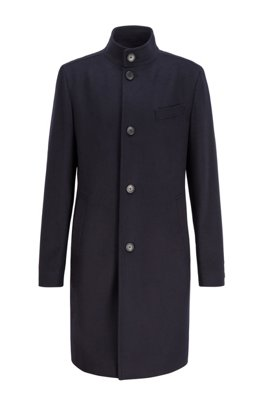 Slim-fit coat in virgin wool and cashmere, Dark Blue