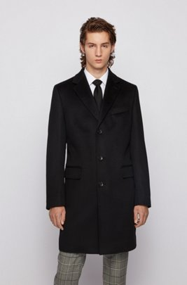 Slim-fit blazer coat in pure cashmere, Black