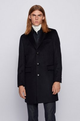 Slim-fit blazer coat in pure cashmere, Dark Blue