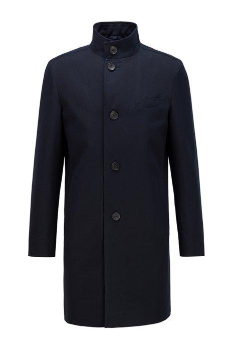 Slim-fit mantel van waterafstotende katoen, Donkerblauw