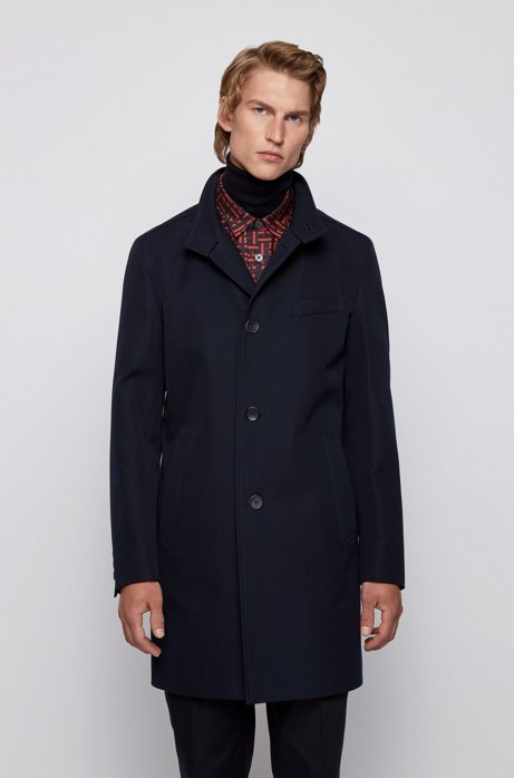 Slim-fit coat in water-repellent cotton, Dark Blue