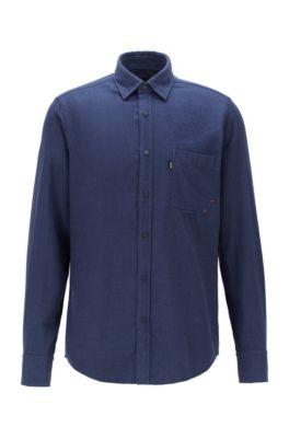 Chemise Regular Fit en flanelle de coton chiné, Bleu foncé