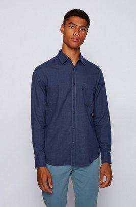 Regular-Fit Hemd aus meliertem Baumwoll-Flanell, Dunkelblau