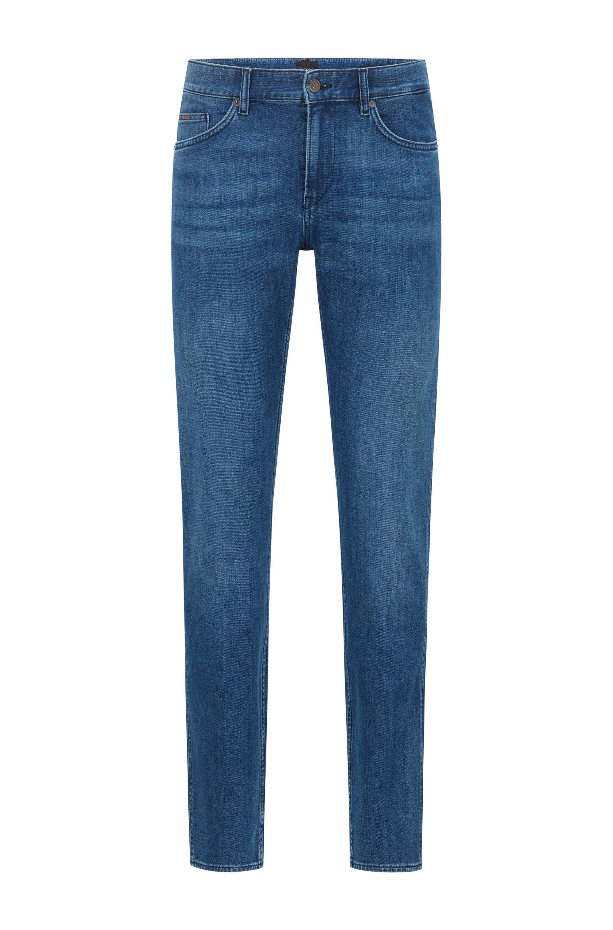 Slim-fit jeans in blue cashmere-touch Italian denim, Blue