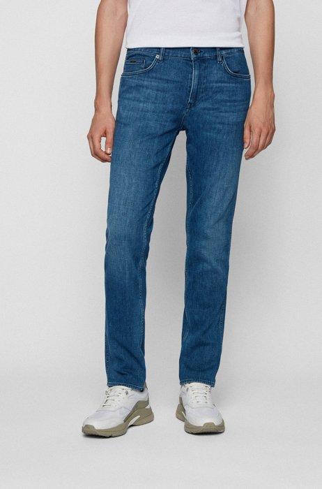 Slim-Fit Jeans aus blauem italienischem Denim mit Kaschmir-Haptik, Blau