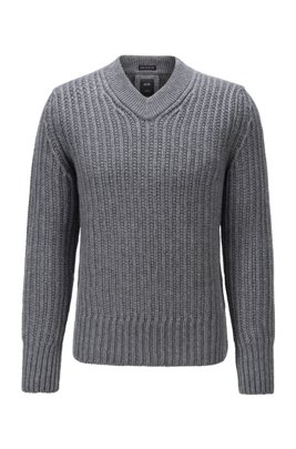 V-neck sweater in virgin wool and cashmere, Grey