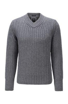 Jersey con cuello en pico de lana virgen y cashmere, Gris
