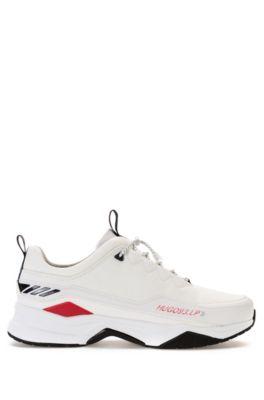Baskets inspirées des chaussures de course avec lacets à cordon de serrage, Blanc