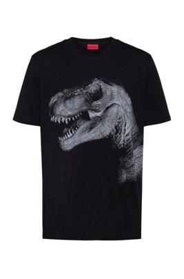 Regular-fit T-shirt van katoenjersey met grafische print, Zwart
