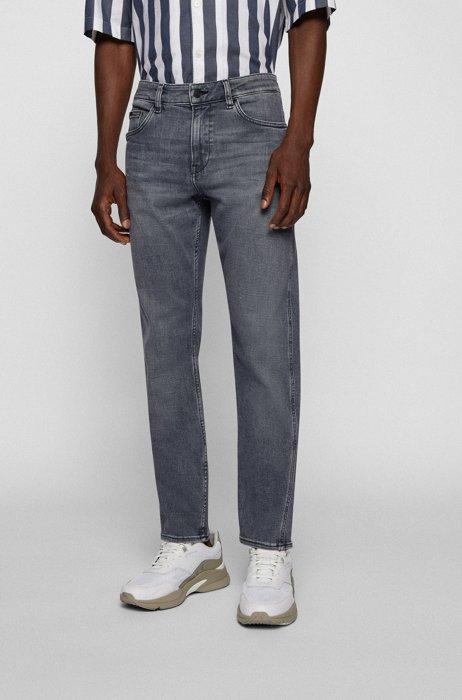 Slim-fit jeans van grijs Italiaans denim met kasjmierfeel, Grijs