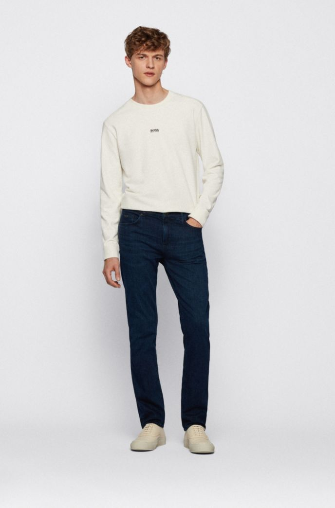 Slim-fit jeans in cashmere-touch blue Italian denim