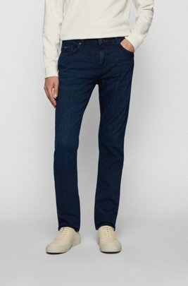 Slim-fit jeans in cashmere-touch blue Italian denim, Dark Blue