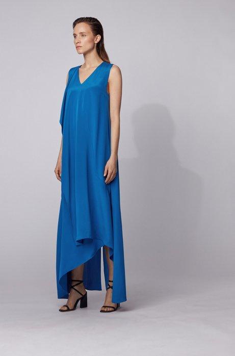 Vestido largo de seda sin mangas con parte delantera en forma de cascada, Azul