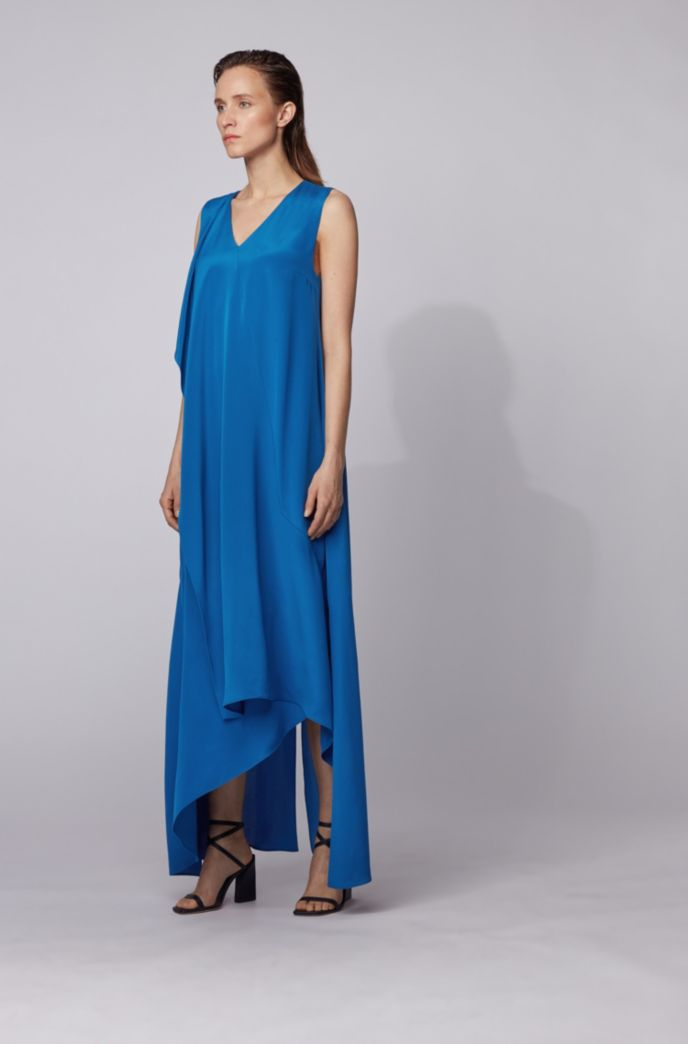 Long-length sleeveless dress in silk with waterfall front