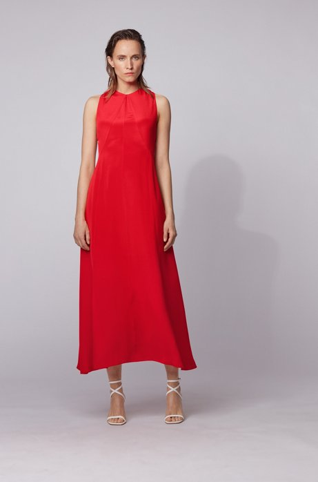 Long-length silk dress with strappy open back, Red