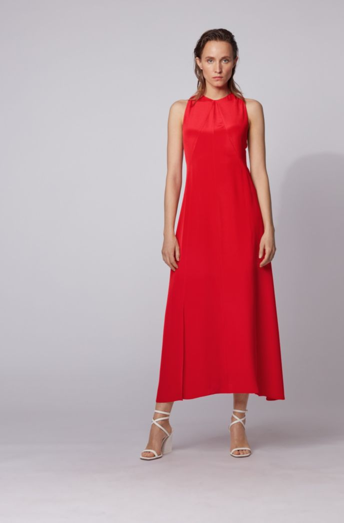Long-length silk dress with strappy open back