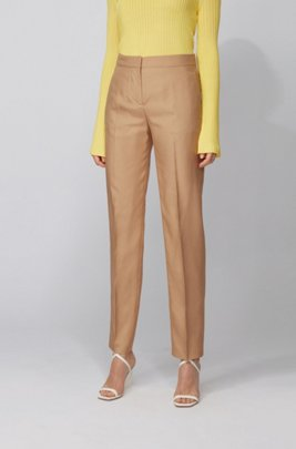 Tapered-fit trousers in silk with high waistband , Light Brown