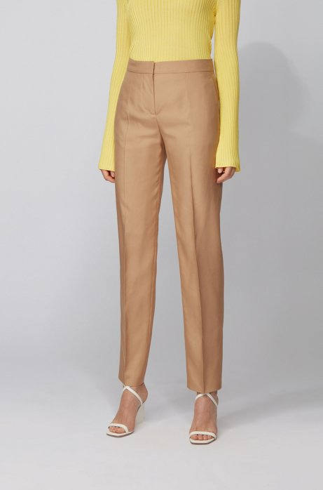 Pantaloni in seta a vita alta con fit affusolato , Marrone chiaro