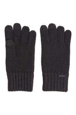 Handschuhe aus Woll-Mix mit Touchscreen-Funktion, Schwarz