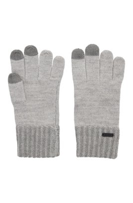 Wool-blend gloves with touchscreen-friendly tips, Grey
