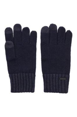 Handschoenen van een wolmix met touchscreenvriendelijke vingertoppen, Donkerblauw