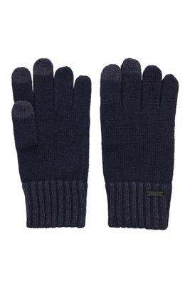 Wool-blend gloves with touchscreen-friendly tips, Dark Blue