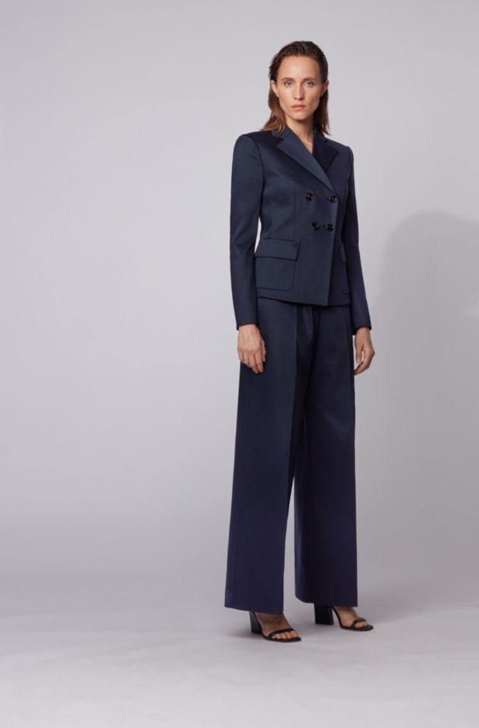 High-waisted wide-leg trousers in stretch cotton