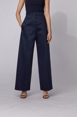 High-waisted wide-leg trousers in stretch cotton, Light Blue