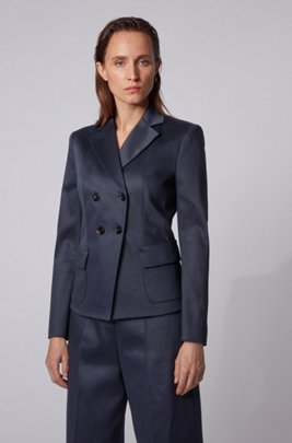 Slim-fit jacket in stretch-cotton twill, Light Blue