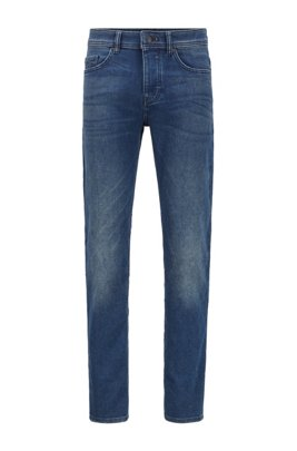 Tapered-Fit Jeans aus Knit Denim im Vintage-Look, Dunkelblau