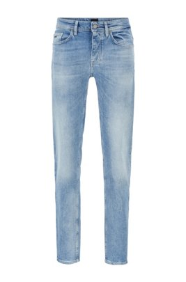 Tapered-fit jeans in distressed bright-blue stretch denim, Turquoise