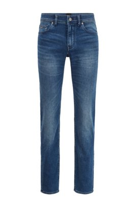 Slim-fit jeans in dark-blue knitted stretch denim, Blue