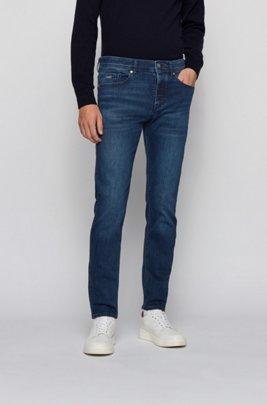 Jeans con fit affusolato in denim blu scuro super elasticizzato, Blu scuro