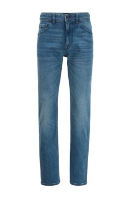 Relaxed-fit jeans in mid-blue super-stretch denim, Blue