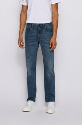 Jean Relaxed Fit en denim bleu stretch, Bleu