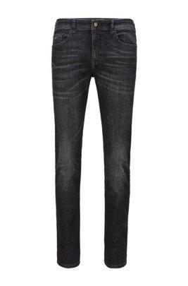 Slim-fit jeans in super-stretch black denim, Dark Grey
